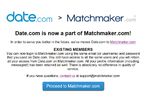 Date.com Redirects to Matchmaker.com