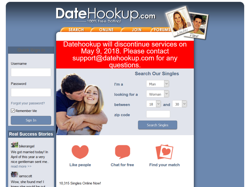 Www datehookup com login