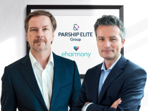 eHarmony CEO Grant Langston and CEO of Parship Elite Group Tim Schiffers