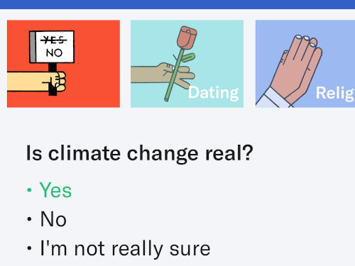 Climate Change question from the OkCupid app.