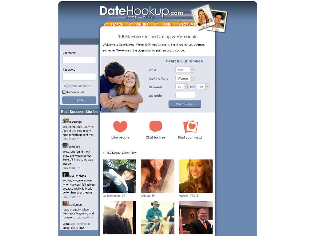 Datehookup account home