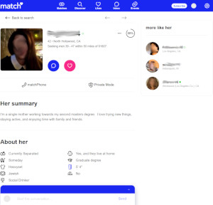 Profile tools include matchPhone, Private Mode, and Messages