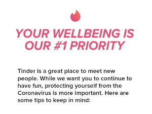 Tinder's Coronavirus message to it's members
