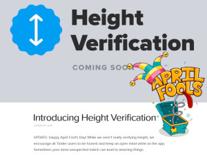 Tinder's April Fools Prank about Height Verification