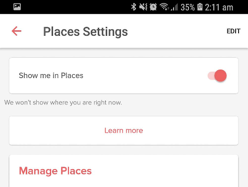 Manage your Tinder Places Settings