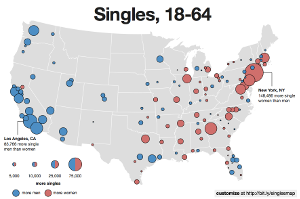 Location of Singles in the United States